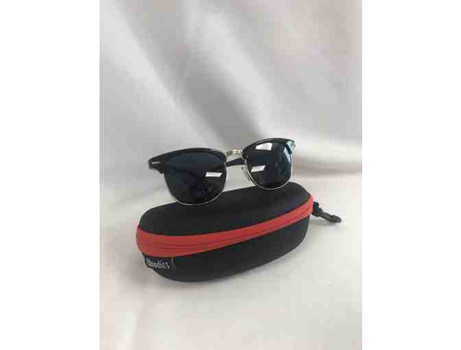 Woodies Ebony Wood Half-rim Sunglasses with Black Polarized Lenses