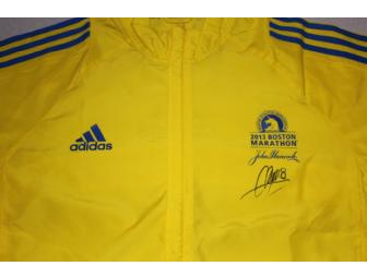 Chris Tierney autographed 2013 BAA Boston Marathon yellow volunteer jacket