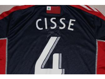 Kalifa Cisse #4 navy jersey w/ leukemia awareness ribbon