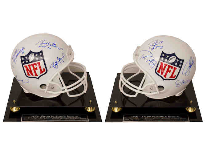 'NFL Quarterback Icons Official Full Size NFL Helmet' Autographed by 8 Greatest QBs