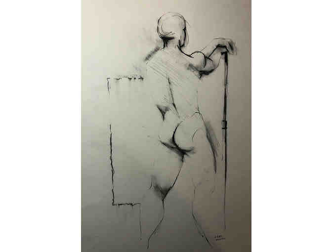 Figure drawing, framed charcoal on paper, by Greg Munro
