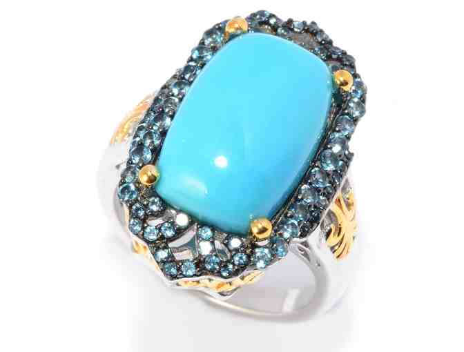Victoria Wieck Sleeping Beauty Turquoise & London Blue Topaz Ring