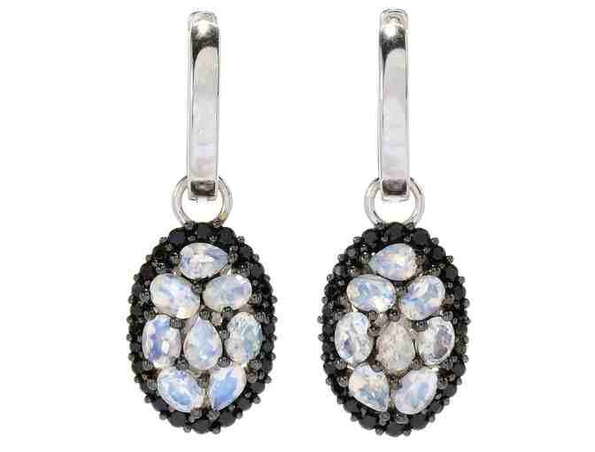 Victoria Wieck 2.72ctw Rainbow Moonstone & Gem Oval Drop Earrings