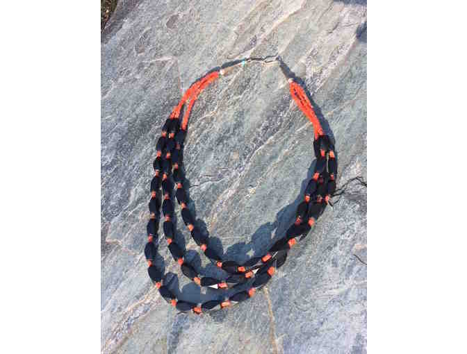 Onyx and Coral Necklace