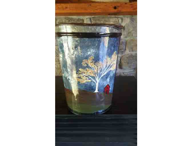 Original Painted Farm Scene by Carlisle Doria on Retired Metal Sap Bucket