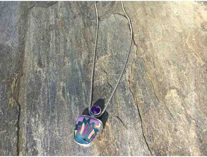 Cloisonne, Amethyst and Silver Necklace