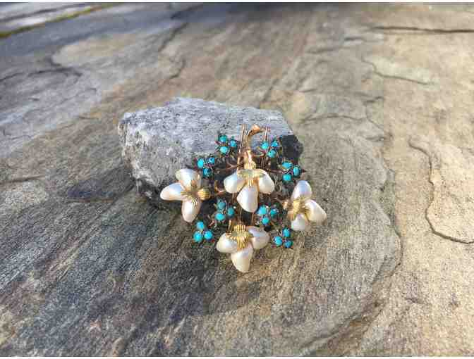 Sea Pearl and Turquoise Pin