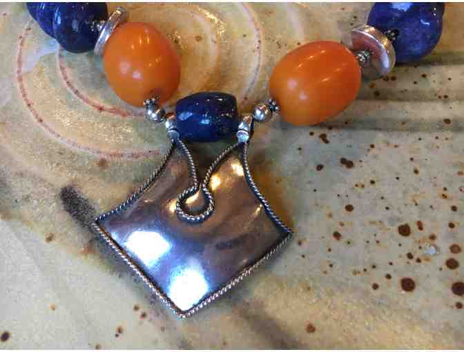 Silver, Honey Amber, and Lapis Necklace