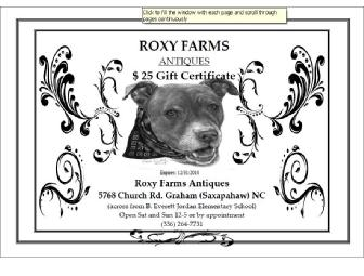 $25 Gift Certificate To Roxy Farms Antiques