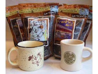 12 Pounds of Larry's Beans Coffee and 2 Mugs