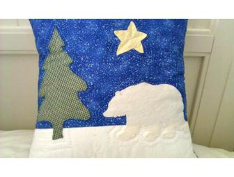 Hand Quilted Polar Bear Pillow