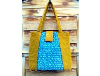 Gold & Blue Bag - Handmade by Donor