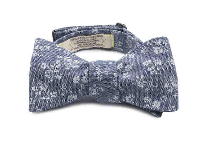Chambray Bow Tie with White Floral Print - Photo 2