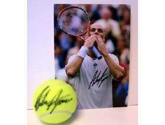 Andre Agassi: Autographed Tennis Ball & Photo