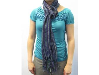 Hand-woven Scarf: Purple & Green Silk Blend