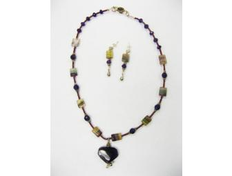 Amethyst & Fluorite Jewelry Set of Lavender and Green