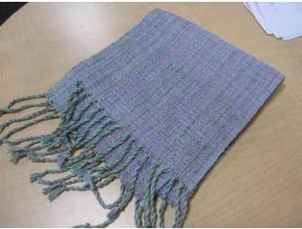 Hand-woven Scarf: Lavender & Lime Green Silk Blend