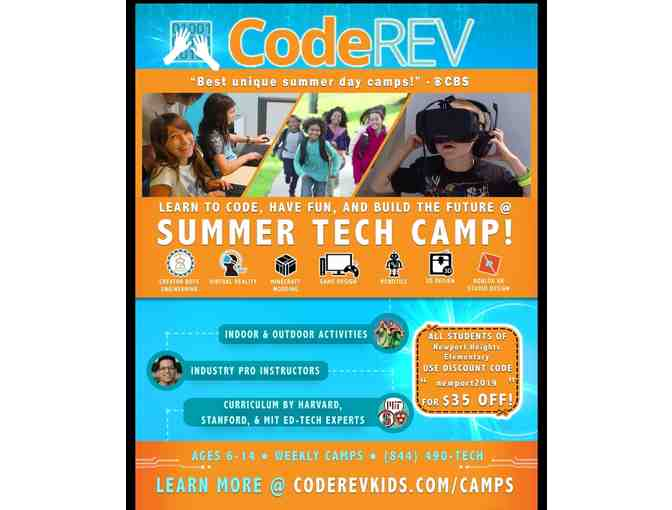 1 Week Summer Tech Camp at CodeREV