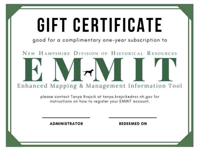 One-year subscription to EMMIT, NH DHR's new online map-based historic resource tool!