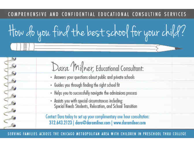 One Hour Consultation for Find the Right School with Educational Consultant - Dara Milner