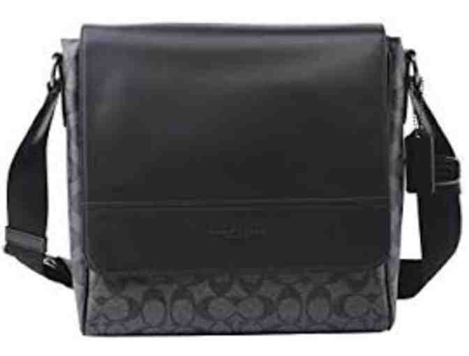 Coach Houston Map Leather Crossbody Messenger Shoulder Bag (Black Leather)