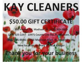 $50 Gift Certificate to Kay Cleaners