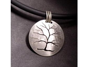Hand Cut Sterling Silver Tree Pendant