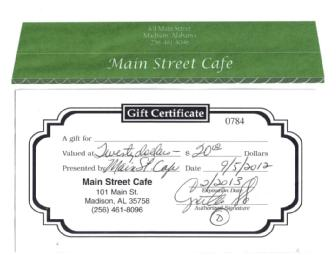 $20 Gift Certificate - Main Street Cafe, Madison AL