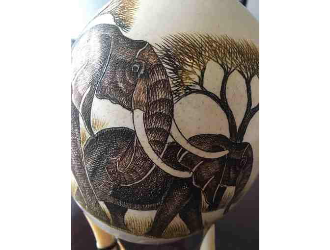 African Carved Ostrich Egg - Elephant