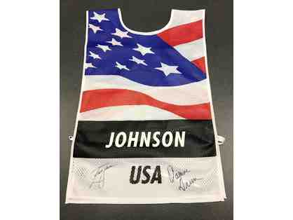 2016 Ryder Cup caddie bib autographed by Zach Johnson and caddie Damon Green
