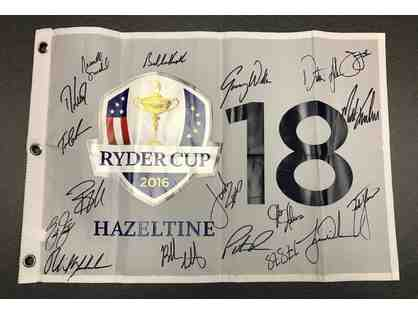 2016 USA Ryder Cup pin flag signed by Team USA