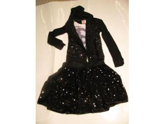 Girls Beautees Black Sequin 2-Piece Outfit - Size 6/8