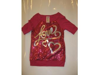 Girls Beautees Pink 'Love' Top - Size 8