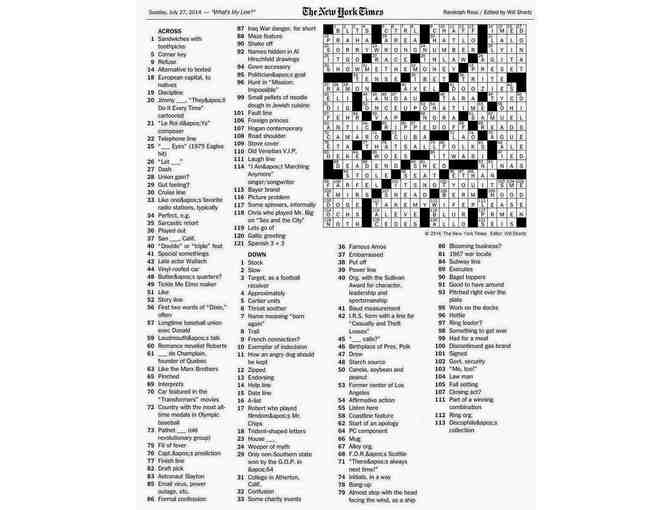 Customized Crossword Puzzle - or - Your name in the top row of published puzzle - Photo 1