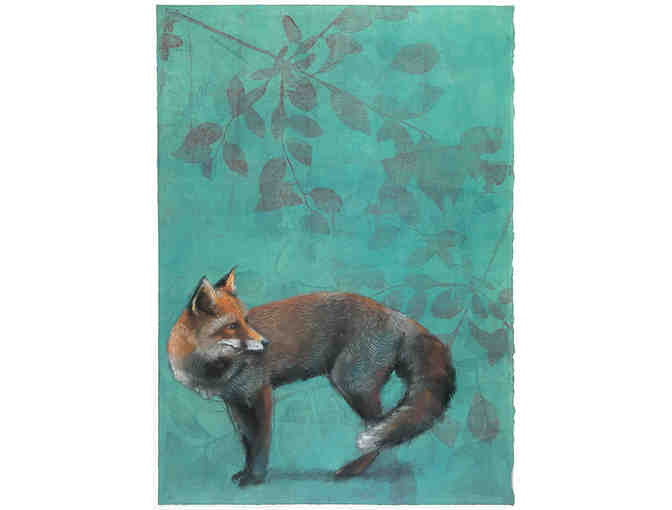 Limited Edition 'Standing Fox on Turquoise' 18 x 24 inch Glicee Print by Sylvia Gonzalez