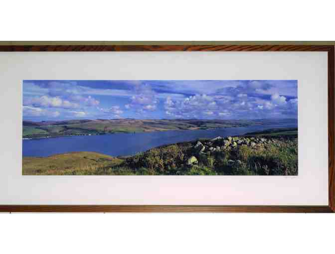 framed art photo (46.25' x 10.25')  'Tomales Bay South to Pt. Reyes Station'