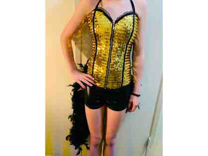 Dance Moms UNAIRED Season 7 Episode - Gold Sequins Bustier with Black, Feather Shorts