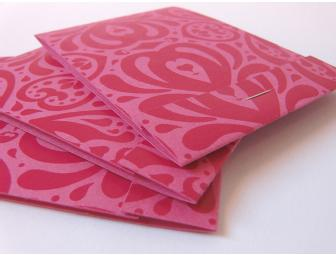 A set of 3 multi-color Matchbook Notepads by Emily Quinn of Cosmos Creative Inc.