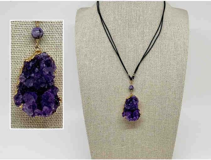 Gold Dipped Purple Amethyst Druzy necklace by Lori Hartwell - Photo 1