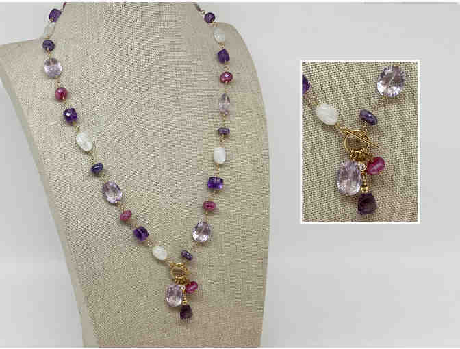 Amethyst, Quartz Crystal and Moonstone Lariat Necklace by Lori Hartwell - Photo 1