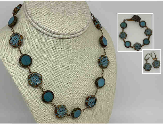 Blue Czech Glass Necklace, Bracelet and Earrings Set by Lori Hartwell - Photo 1