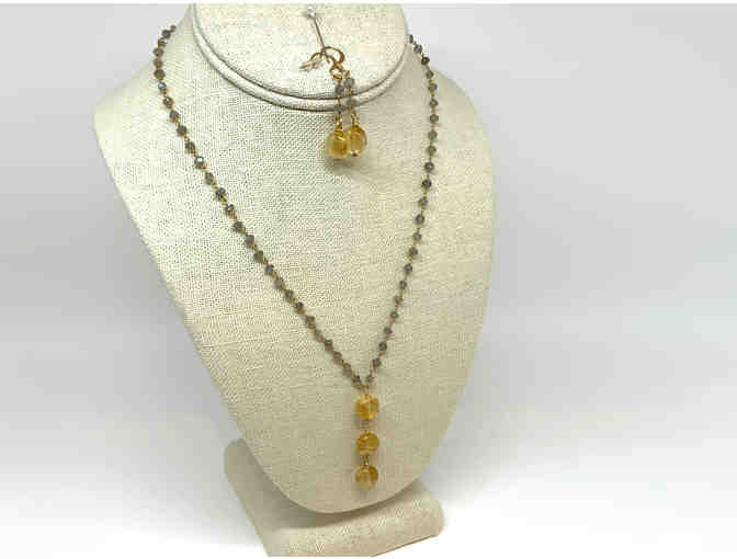 Citrine Drop and Moonstone Necklace and Earrings Set by Lori Hartwell - Photo 1