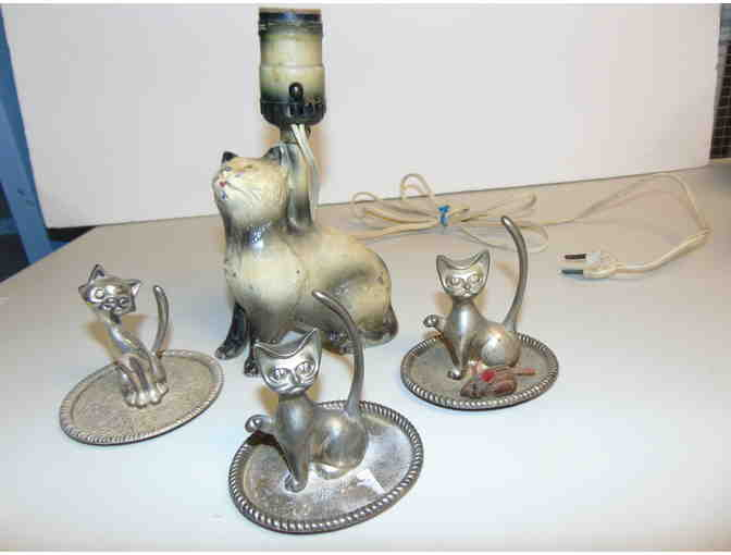 Silver Plated Cat Ring Holders and Vintage-Antique Cat Lamp