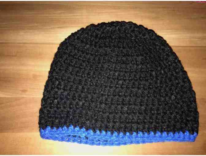 One Hand Crocheted Child's Hat *Black With Blue Trim *Made in Starksboro! - Photo 1
