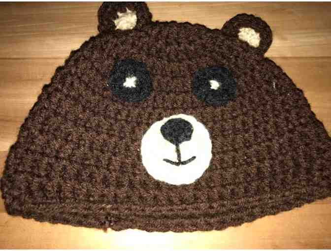 One Hand Crocheted Child's Hat With A Cute Bear Face *Made in Starksboro! - Photo 1
