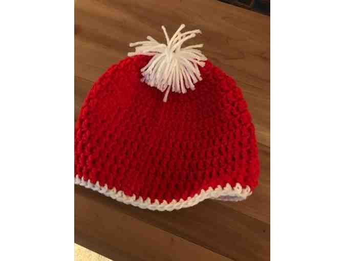 One Red and White Hand Crocheted Child's Hat *Made in Starksboro! #2 - Photo 1