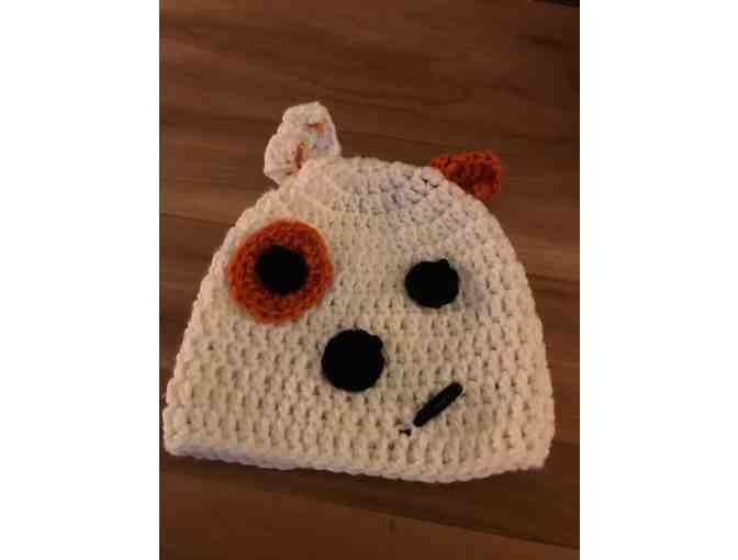 One Hand Crocheted Child's Hat *Made in Starksboro! *Cute Doggie Face! - Photo 1