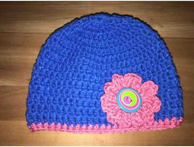 One Hand Crocheted Child's Hat - Blue With Pink Flower *Made in Starksboro! - Photo 1