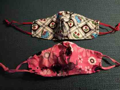 2 Colorful and Cute Children's Masks With Adjustable Straps *Cherries and Flowers!