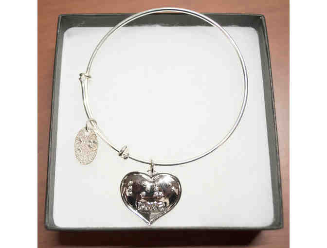 Silver-Plated Braille Love Heart Expandable Bangle